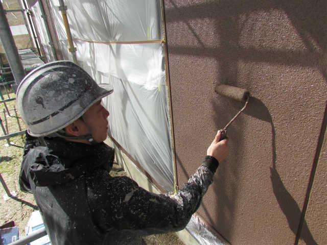 岡山市南区 A様邸 外壁及び屋根塗り替え工事施工中