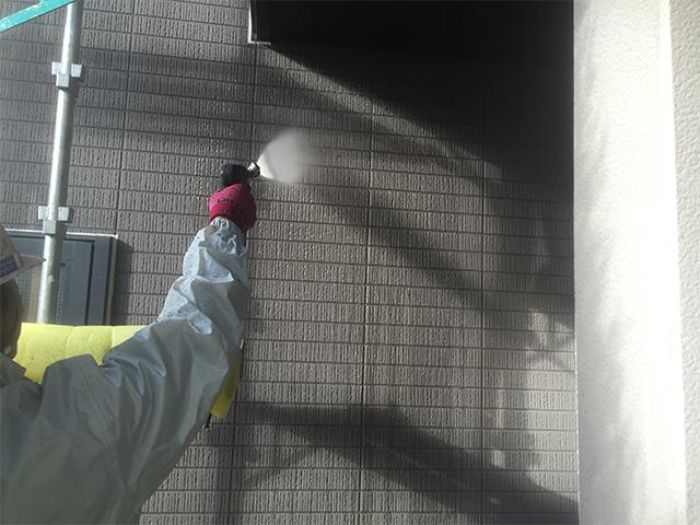 倉敷市上東 T様邸 外壁塗装施工事例施工中