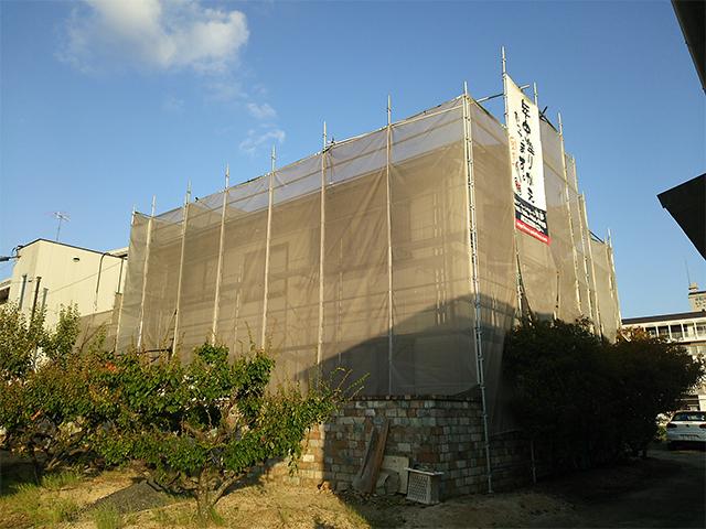 倉敷市下庄 K様邸 屋根外壁塗り替え工事施工中