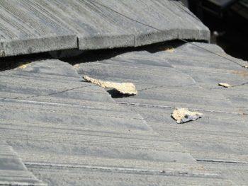施工前屋根 漆喰部分の剥がれ