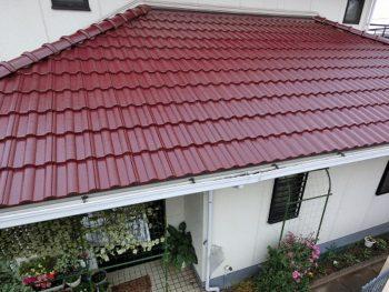 岡山市中区 屋根モニエル瓦の塗替えフッ素塗料を使用