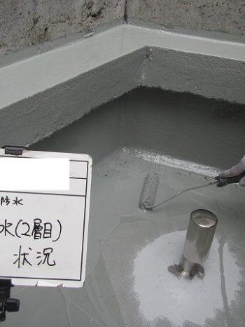 ウレタン防水施工中