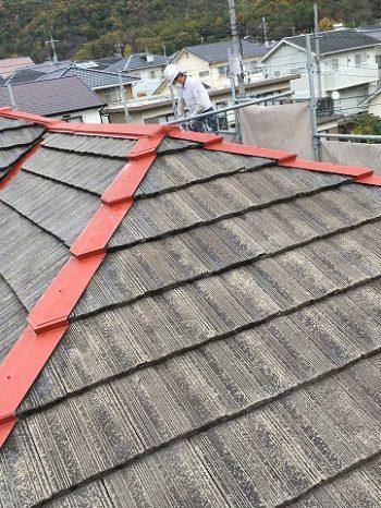 洗浄した後の屋根