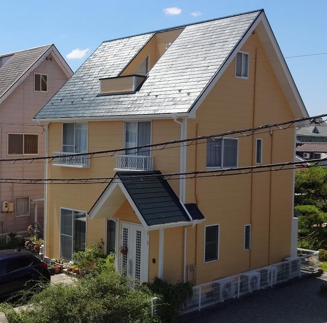 津山市 屋根と外壁の塗装と外壁からの雨漏りを修繕しました