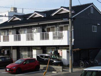 岡山市のアパート塗装!グレーとホワイトでオシャレなデザインに!