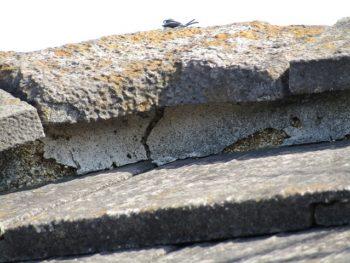 瓦の漆喰部分の劣化
