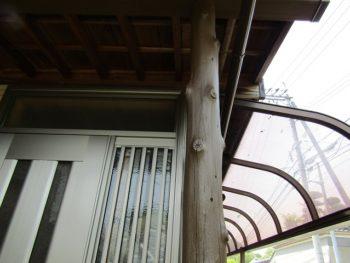 玄関の丸太柱の塗装完成