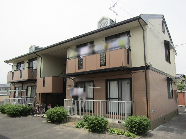 倉敷市 アパート屋根外壁塗装、耐久性の高い無機とフッ素で!