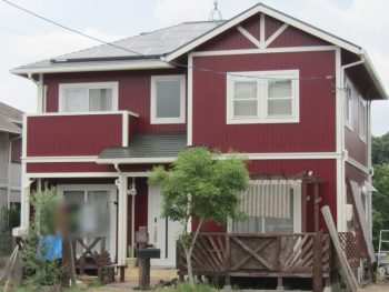 総社市 赤色の外壁に塗り替え!屋根は無機、外壁はフッ素で!