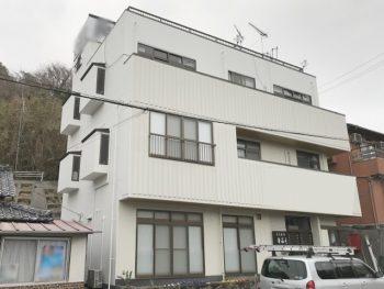 岡山日生町 店舗の雨漏りを止め、外壁塗装と防水工事をしました